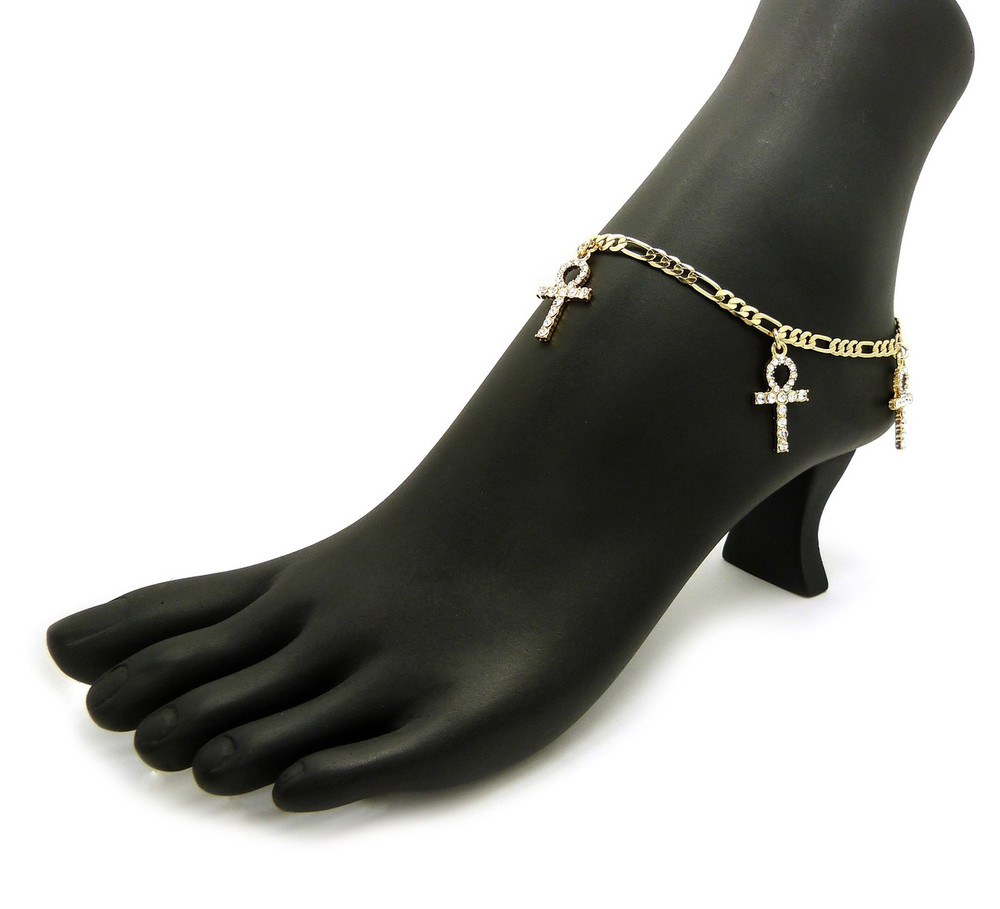 14k Gold African Triple Ankh Cross Ankle Bracelet