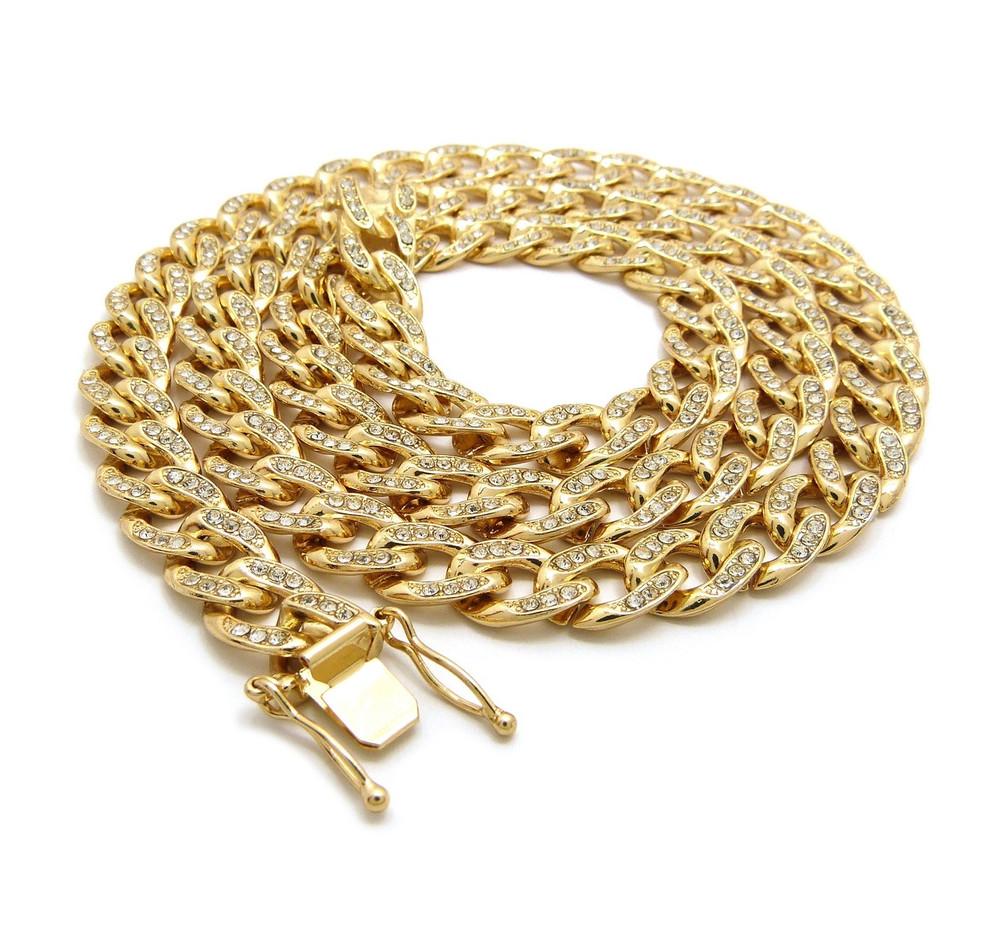 14k Gold Simulated Diamond Stone 10mm Cuban Link Chain