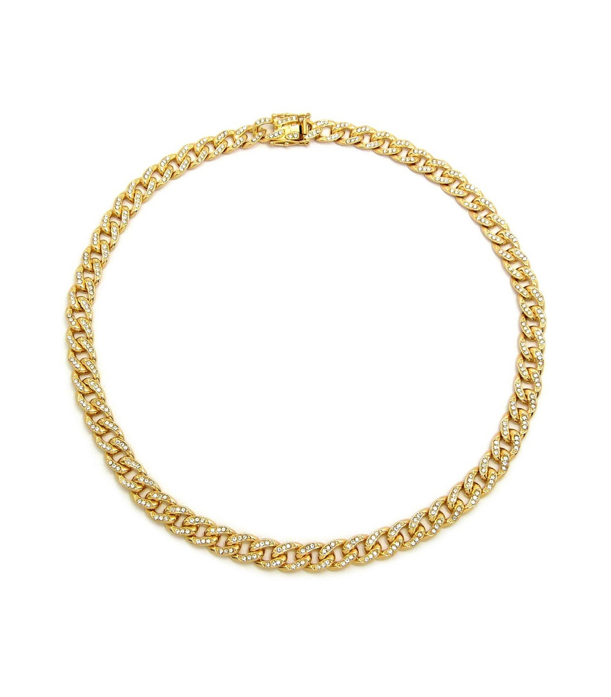 Ladies 14k Gold Simulated Diamond Cuban Link Necklace