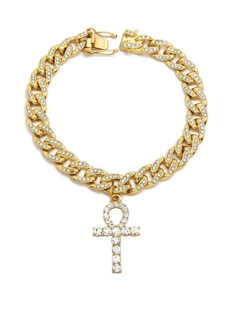 14k Gold Simulated Diamond Ankh Cross Cuban Link Bracelet