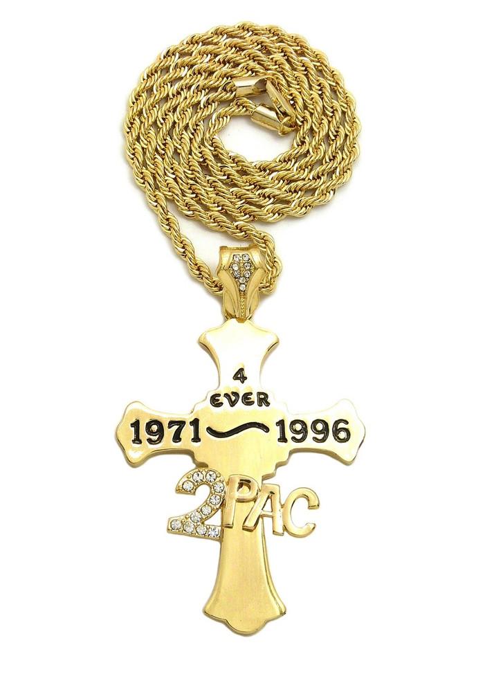 14k Gold 2 Pac Forever Diamond Cz Hip Hop Cross Chain Pendant