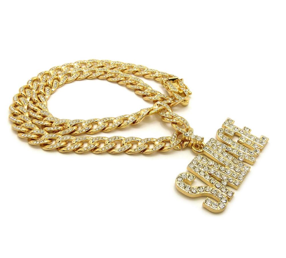 14k Gold Simulated Diamond Hip Hop Savage Cuban Link Pendant