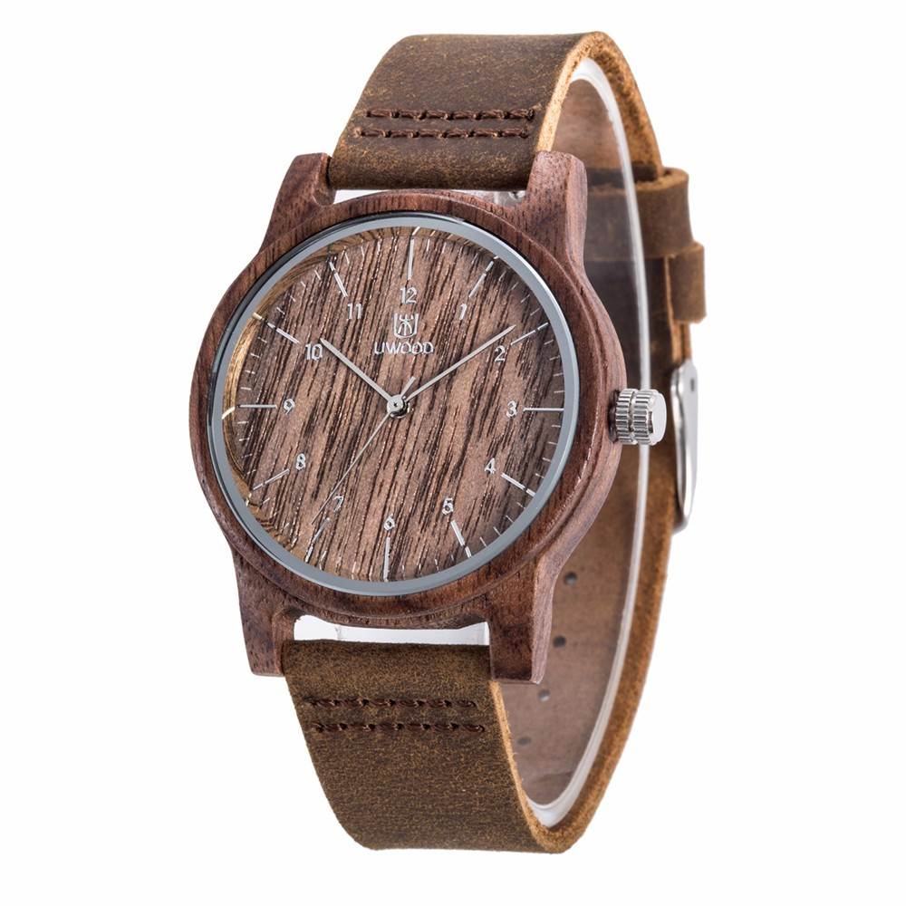 Mens Cowhide Leather Strap Street Casual Wooden Watch