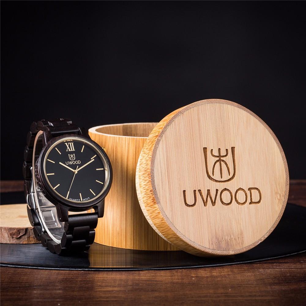 Natural Sandal Wood Mens Swiss Movt Quartz Analog Watch
