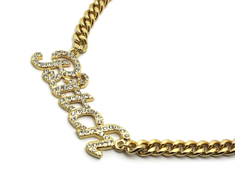 14k Gold Ladies Simulated Diamond Iced Out Bad Bitch Chain