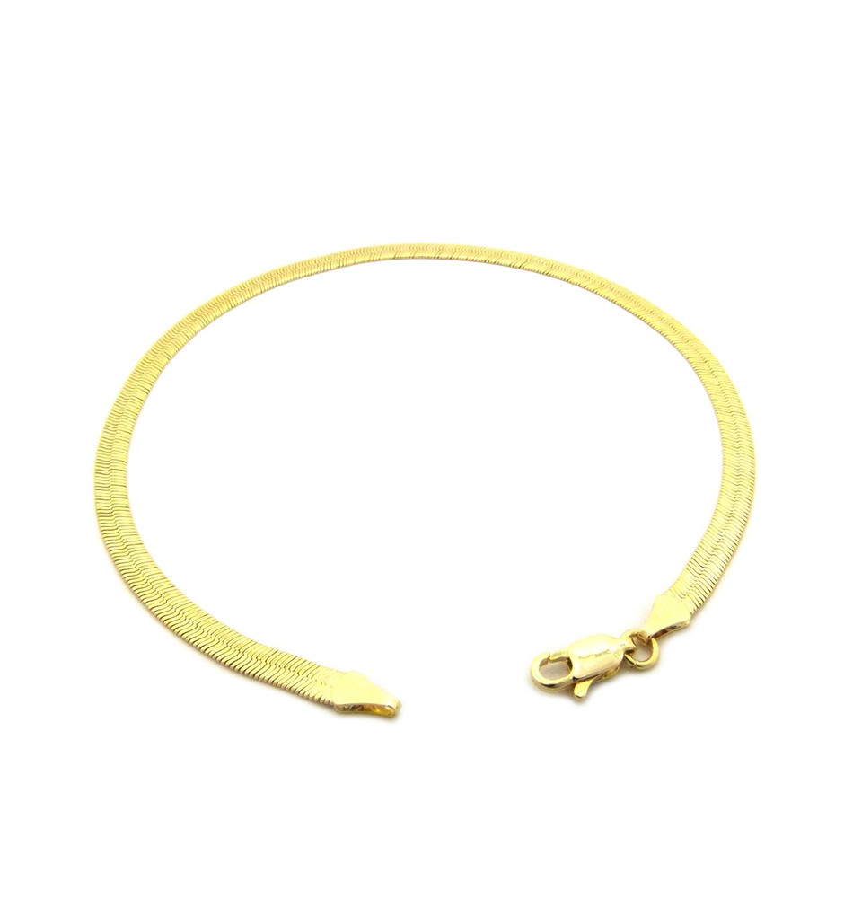 14k Gold 4mm Herringbone Link Ankle Bracelet