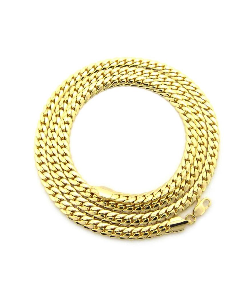 14k Gold 6mm Miami Cuban Link Hip Hop Chain Necklace