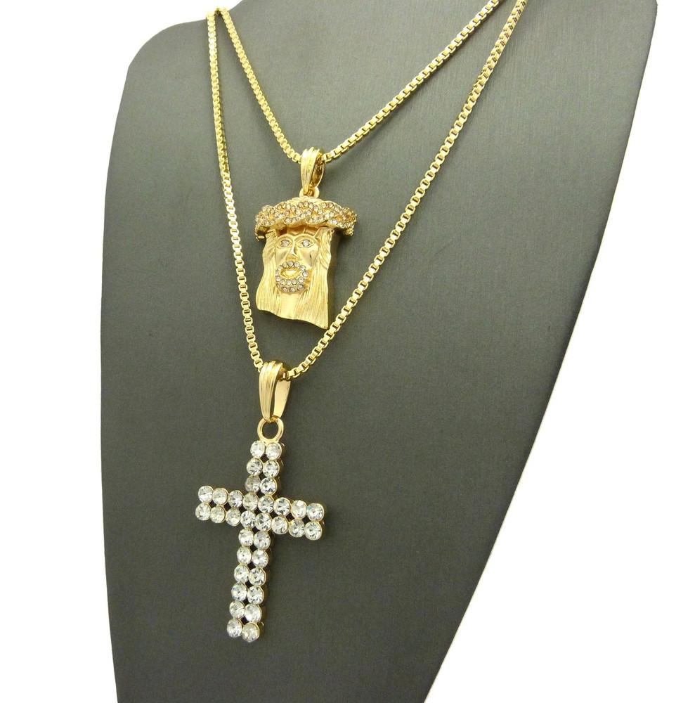 Iced Out Jesus Piece Double Cross Hip Hop Chain Pendant - Bling Jewelz