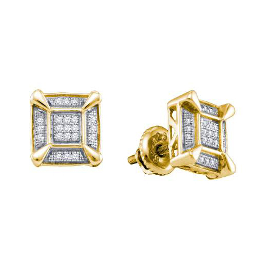 Iced Out Yellow Silver 925 0.14Ctw Diamond Micro Pave Earrings