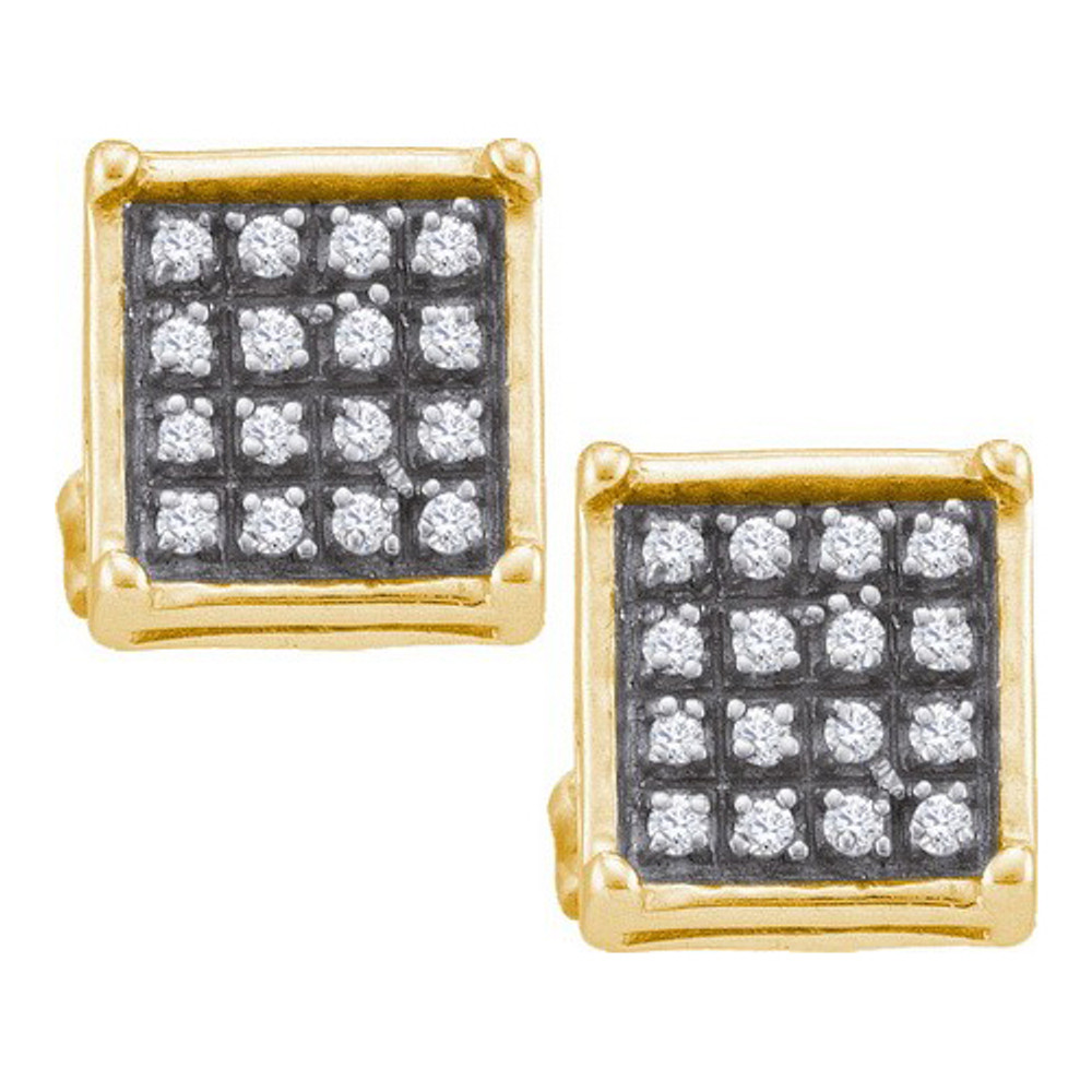Iced Out Prong Set 925 YP 0.10Ct Diamond  Micro Pave Silver Earrings
