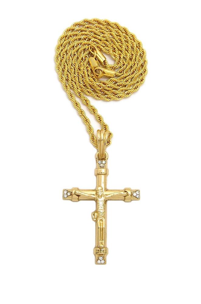 14k Gold Simulated Diamond Jesus Cross Chain Pendant