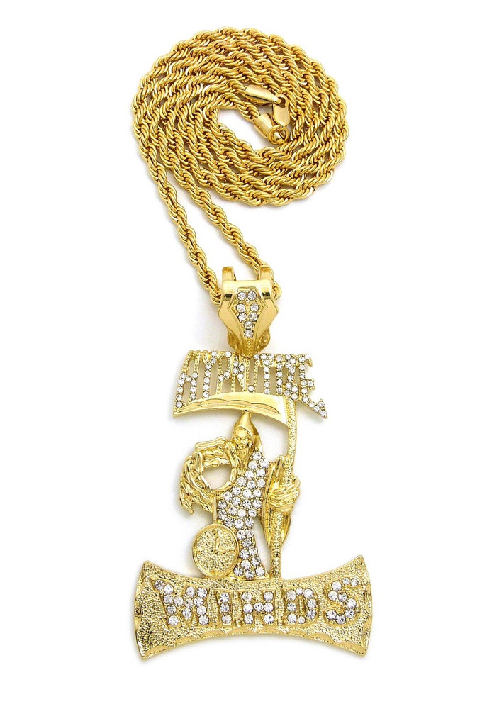 14k Gold Iced Out Hypnotize Minds Grimm Reaper Hip Hop Pendant