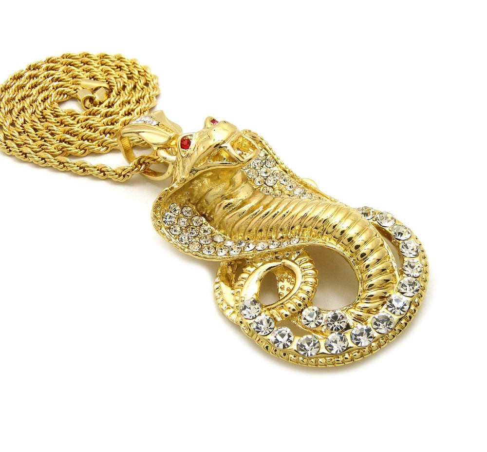 Iced Out Simulated Diamond King Cobra 14k Gold Chain Pendant