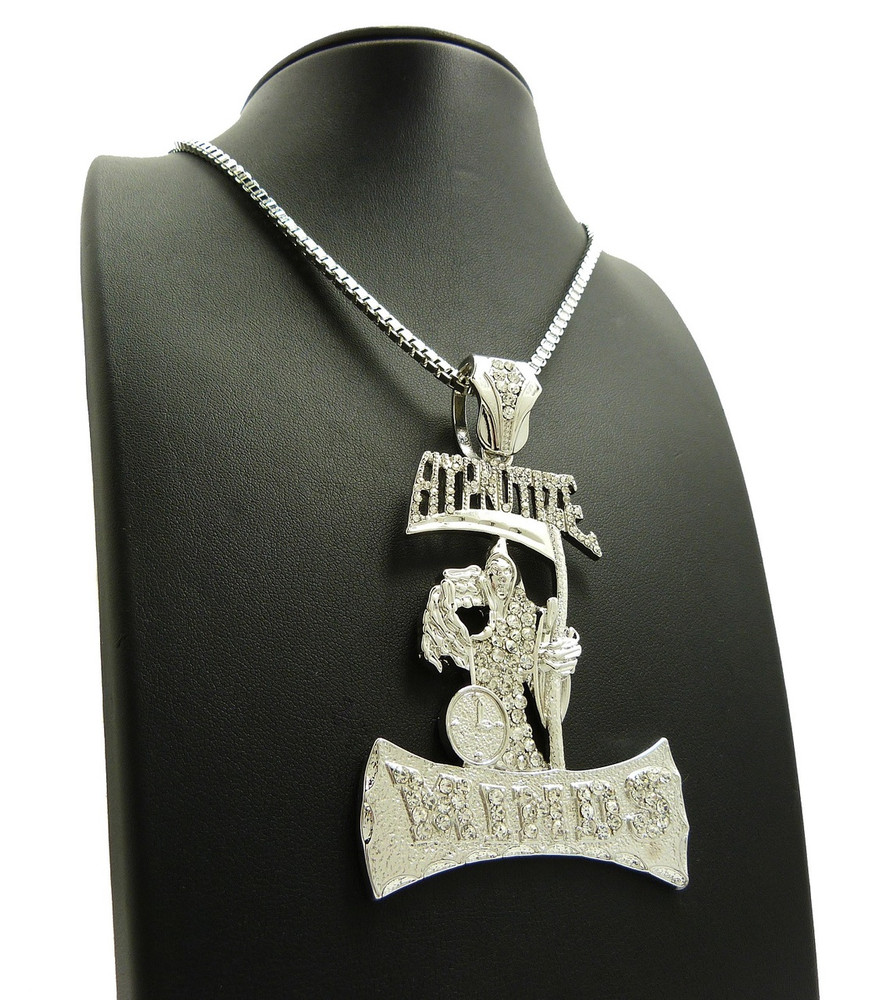 .925 Silver Iced Out Hypnotize Minds Grimm Reaper Hip Hop Pendant