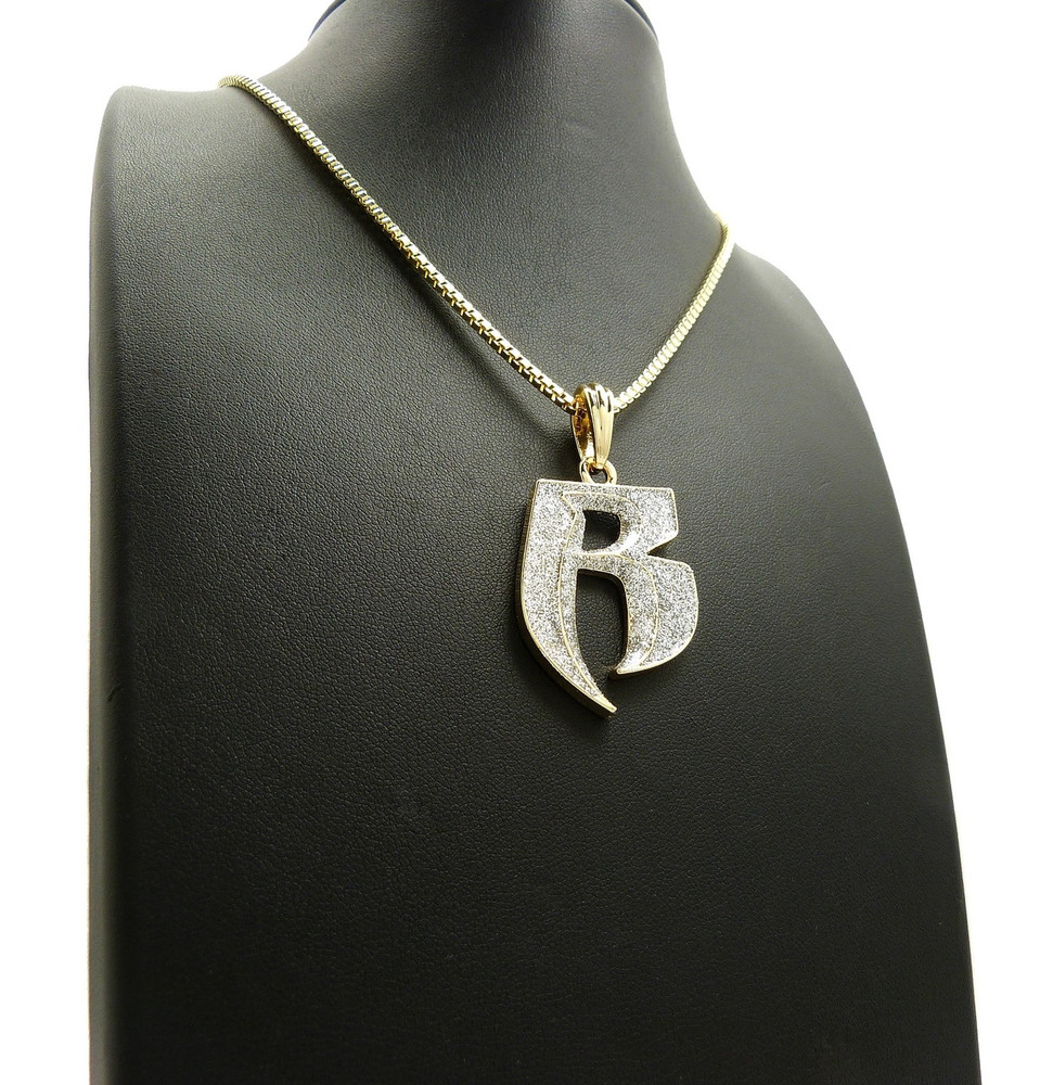 Crushed Iced Double R Ruff Ryders Gold Hip Hop Chain Pendant
