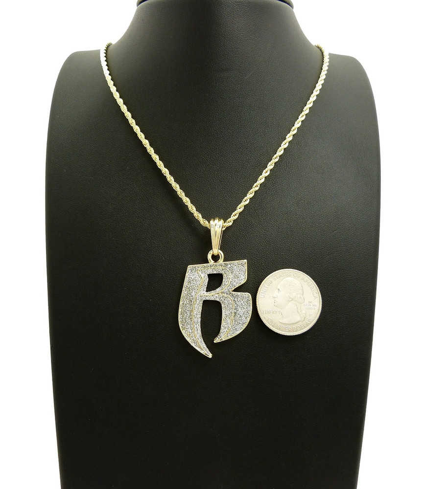 Crushed iced double r ruff ryders gold hip hop chain pendant bling crushed iced chain crushed iced double r ruff ryders gold hip hop chain pendant aloadofball Images