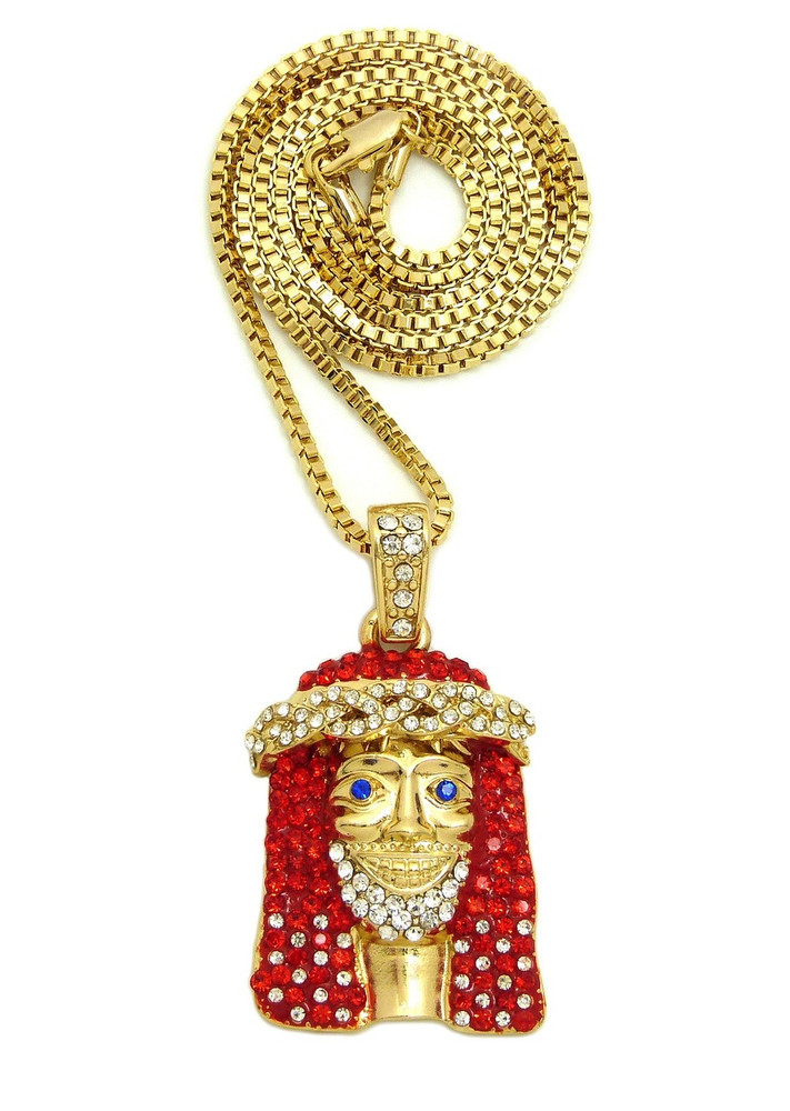 14k Gold Celebrity Inspired Hip Hop Bling Red Stone Jesus Piece ...
