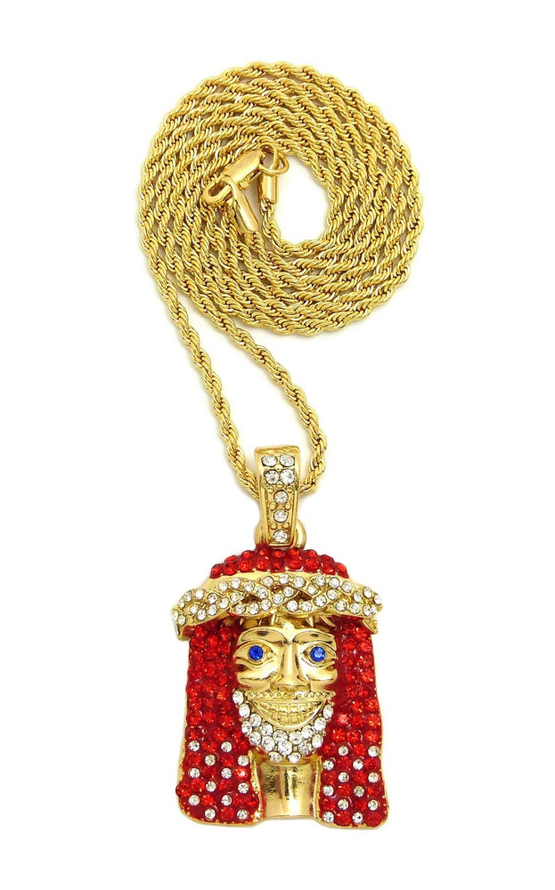 mini piece head hiphop l necklace pendant gold chain jesus plated
