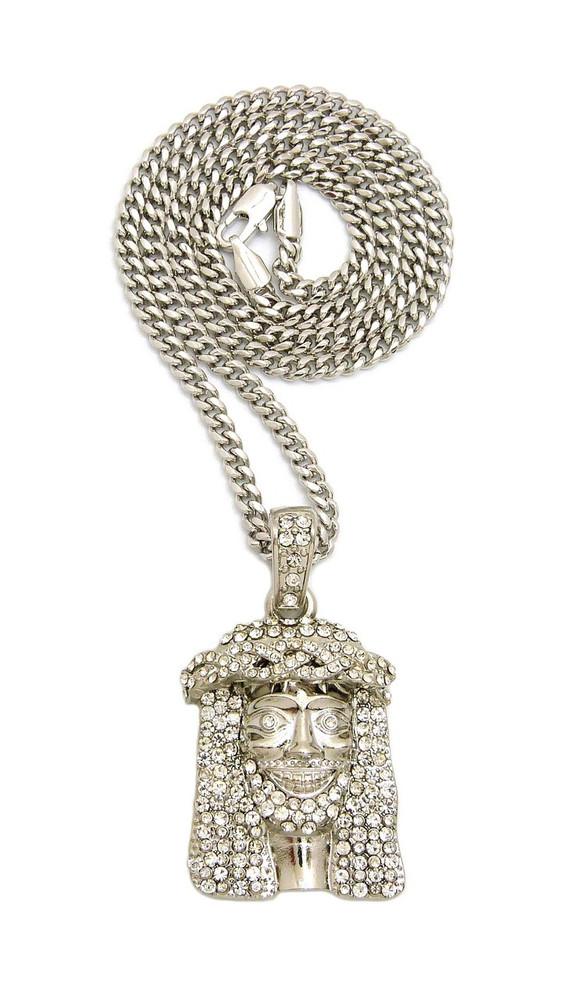 925 Celebrity Inspired Simulated Diamond Hip Hop Jesus Piece Chain ...
