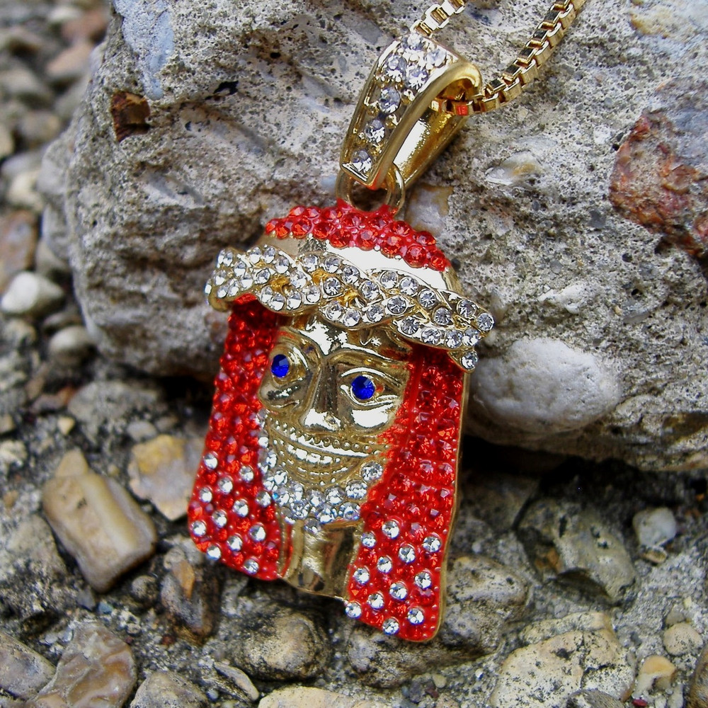 14k Gold lil Yachty Inspired Hip Hop Bling Red Stone Jesus Piece Chain