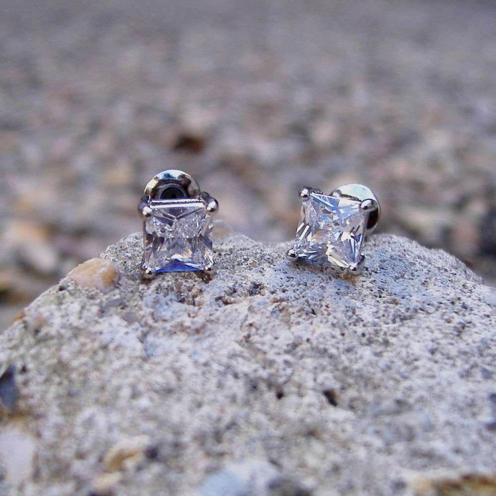 Princess Cut Iced Out Earrings