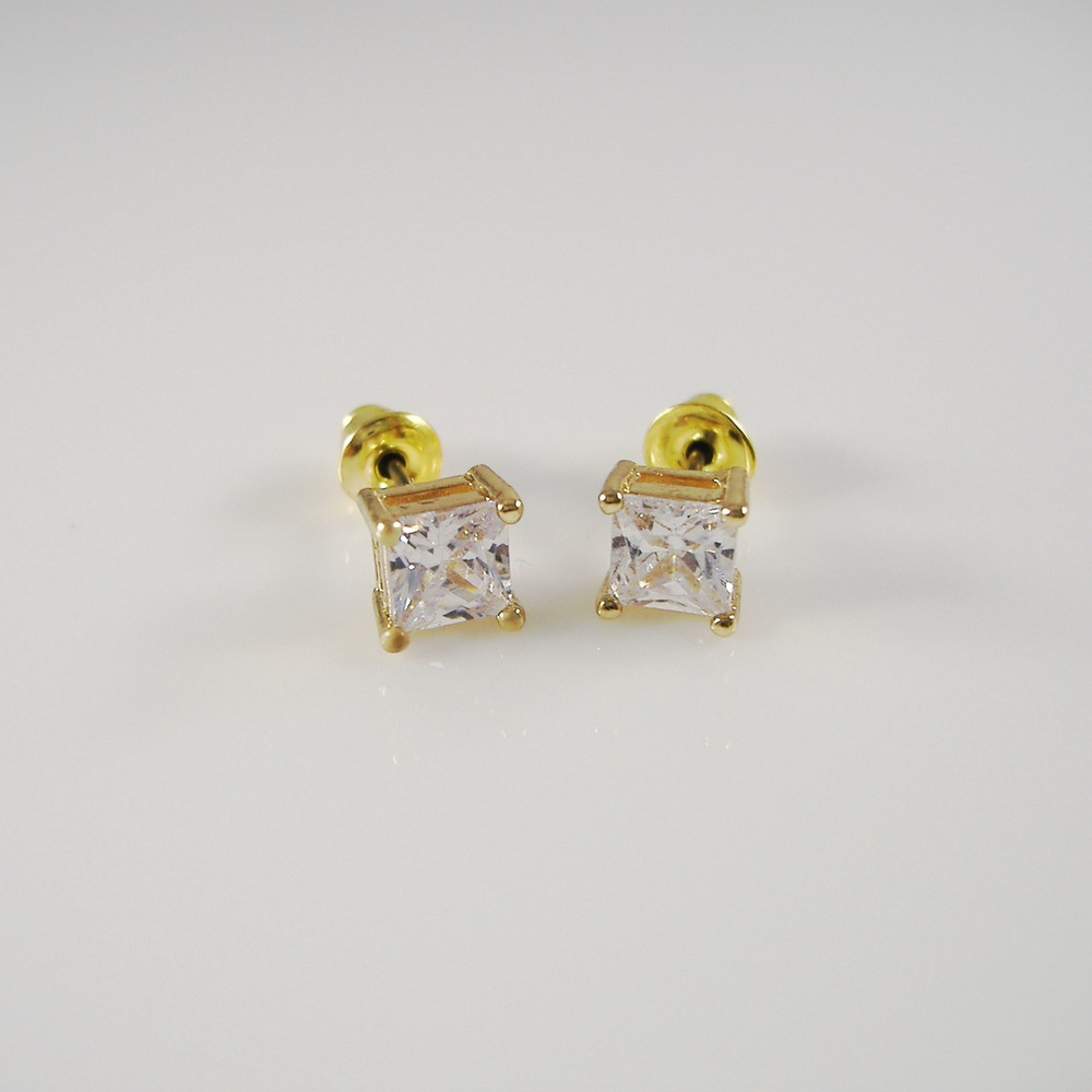 Iced Out Princess Cut Earrings