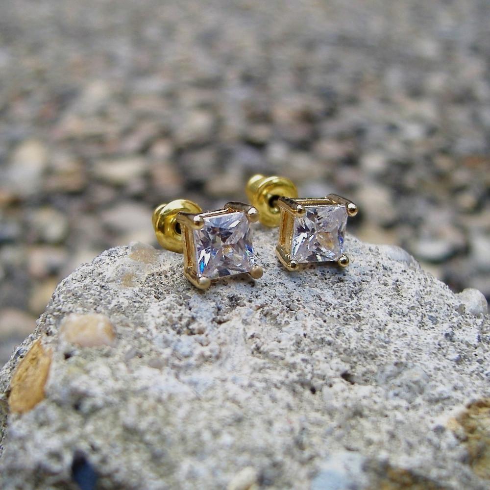 5mm Princess Cut Earrings