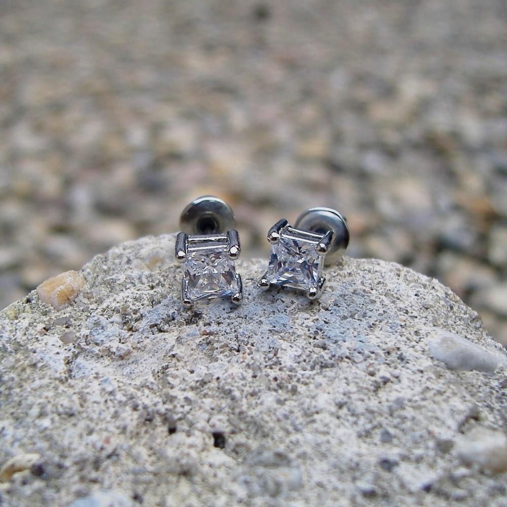 4mm Princess Cut Sterling Silver Earrings