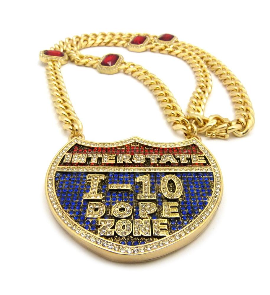 14k Gold Interstate 1-10 Dope Zone Hip Hop Chain Pendant