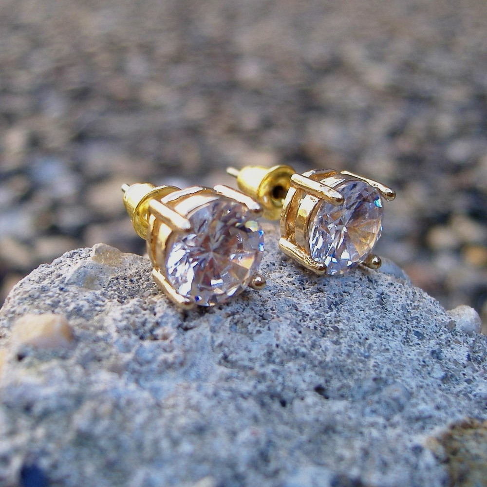 8mm 14k Gold Round Cut Iced Out Earrings