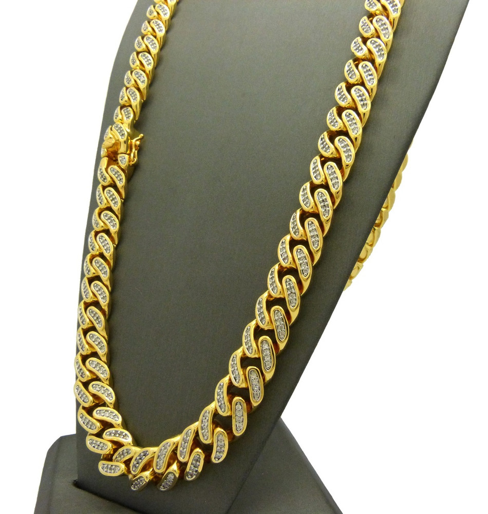 14k Gold Mens 12mm 30 Inch Simulated Diamond Cuban Link Chain Neckalce