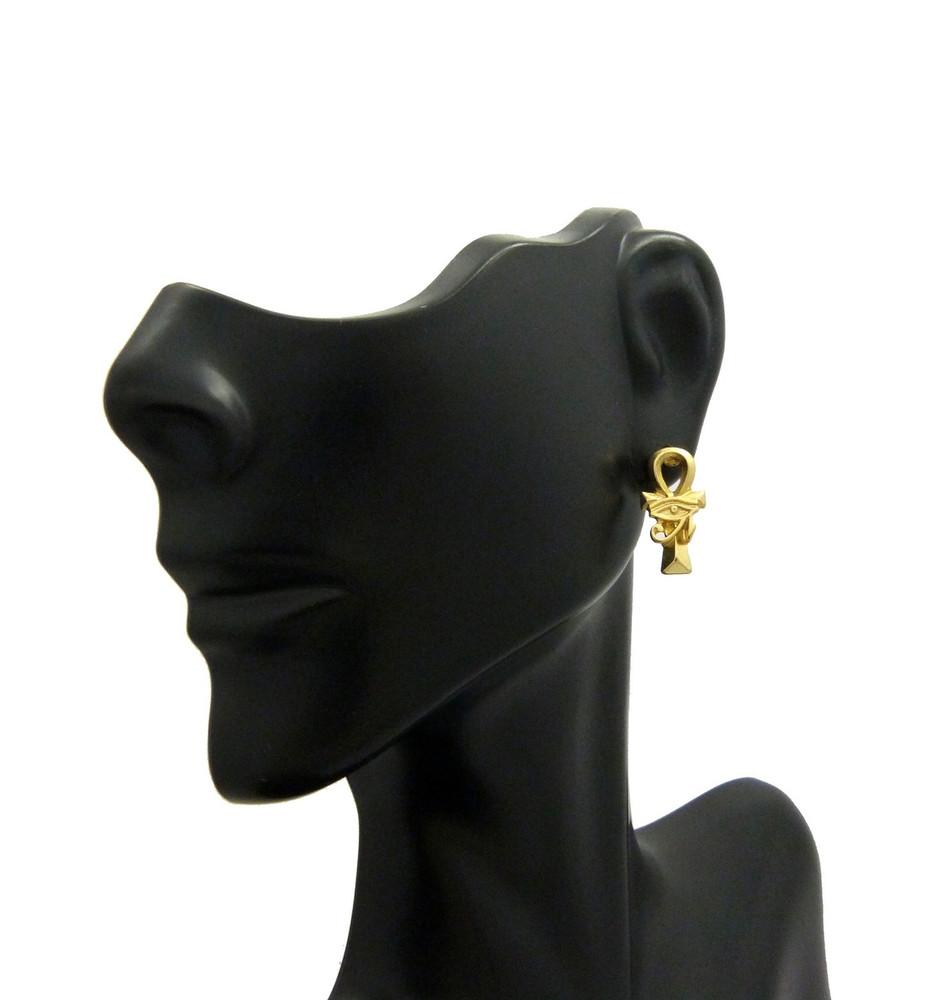 14k Gold Ankh Cross Eye Or Ra African Egyptian Earrings