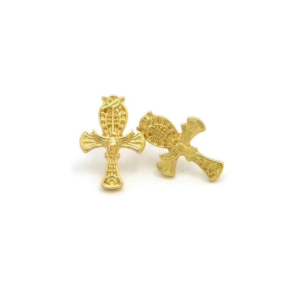 Falcon Of Tutankhamun Gold Ankh Cross African Egyptian Earrings