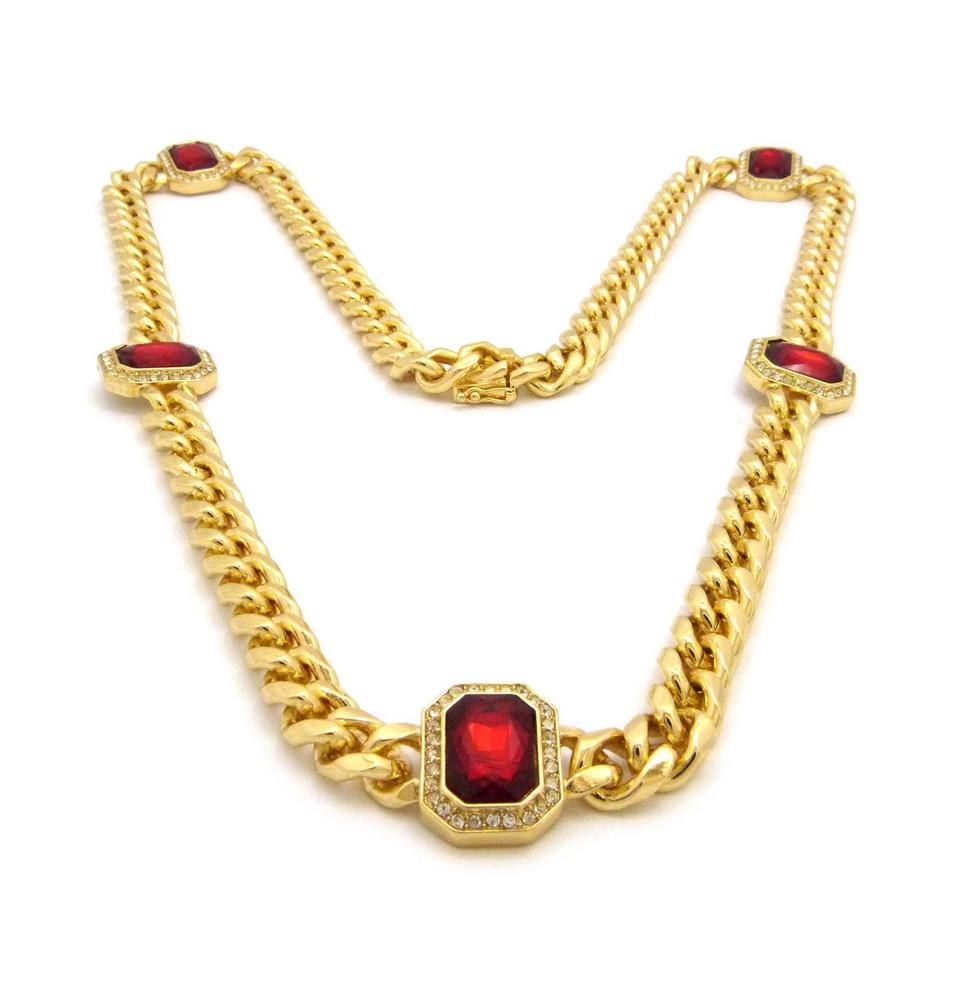 14k Gold Box Lock Ruby Gemstone Cuban Link Chain Necklace