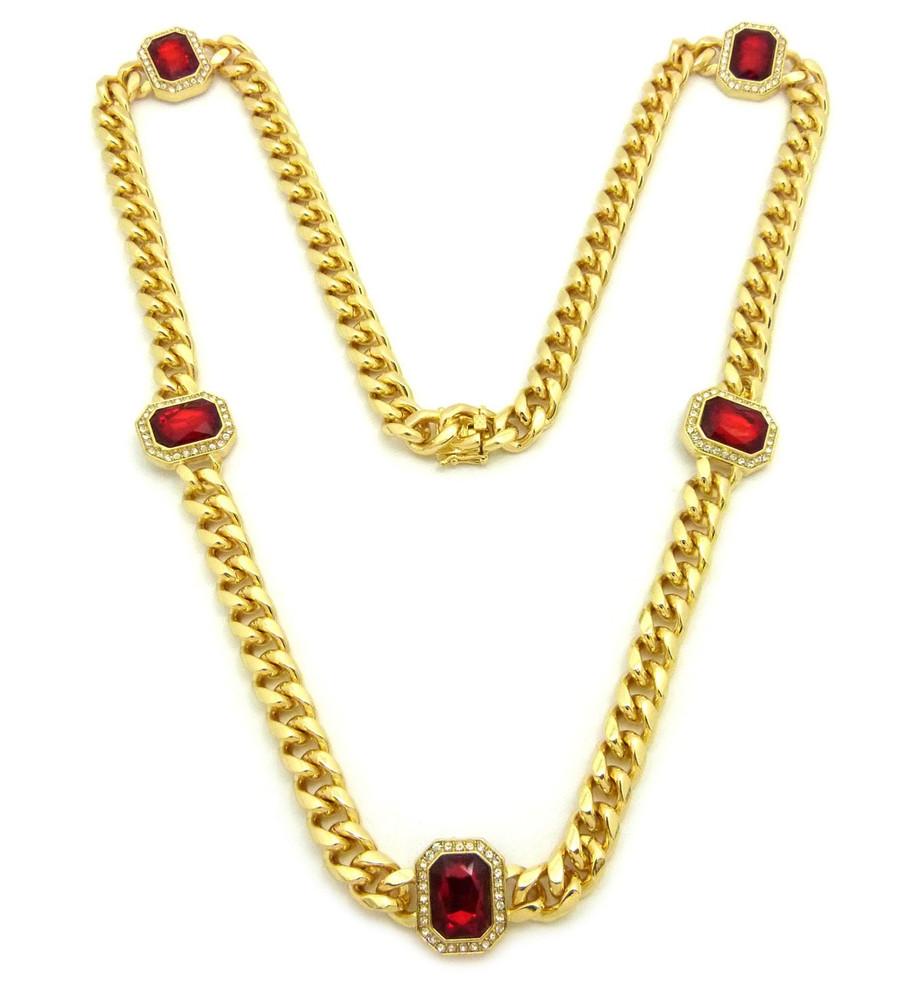 14k Gold Box Lock Ruby Gemstone Cuban Link Chain