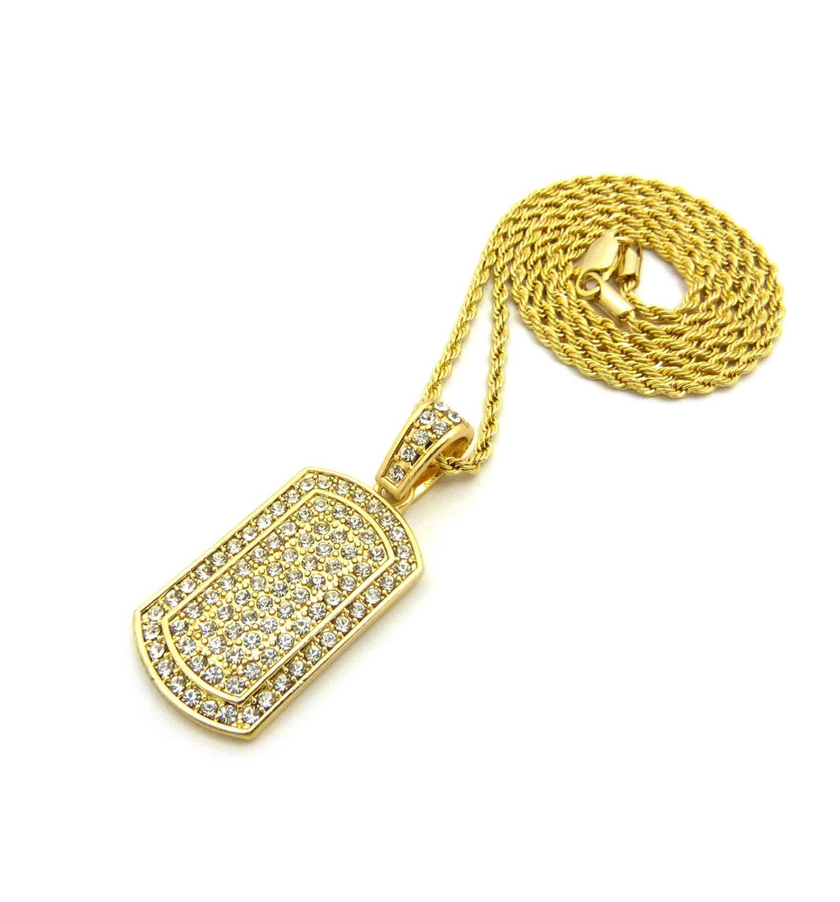 Iced Out Simulated Diamond Dog Tag Chain Pendant