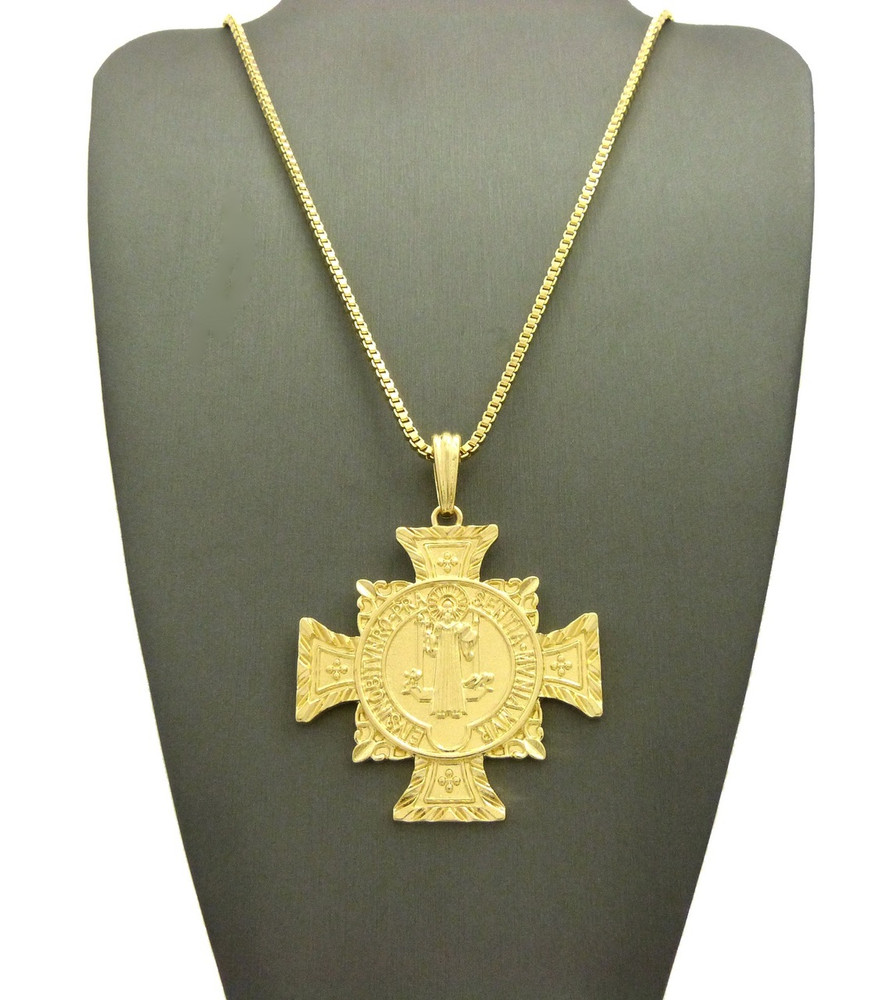 14k Gold EIVS IN OBITV NRO PRAE SENTIA MVNIAMVR St.Benedict Cross Charm Pendant