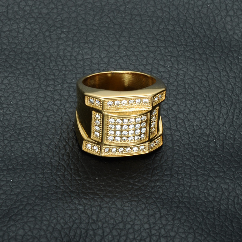 Mens Iced Out Micro Pave Simulated Diamond Bling Gold Titanium Stainless Steel Ring