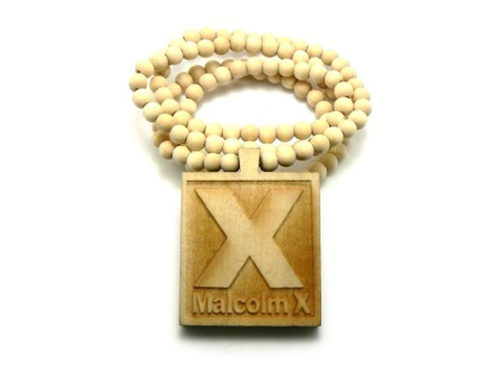 Malcolm X Hip Hop Pendant Chain Necklace Wood Natural