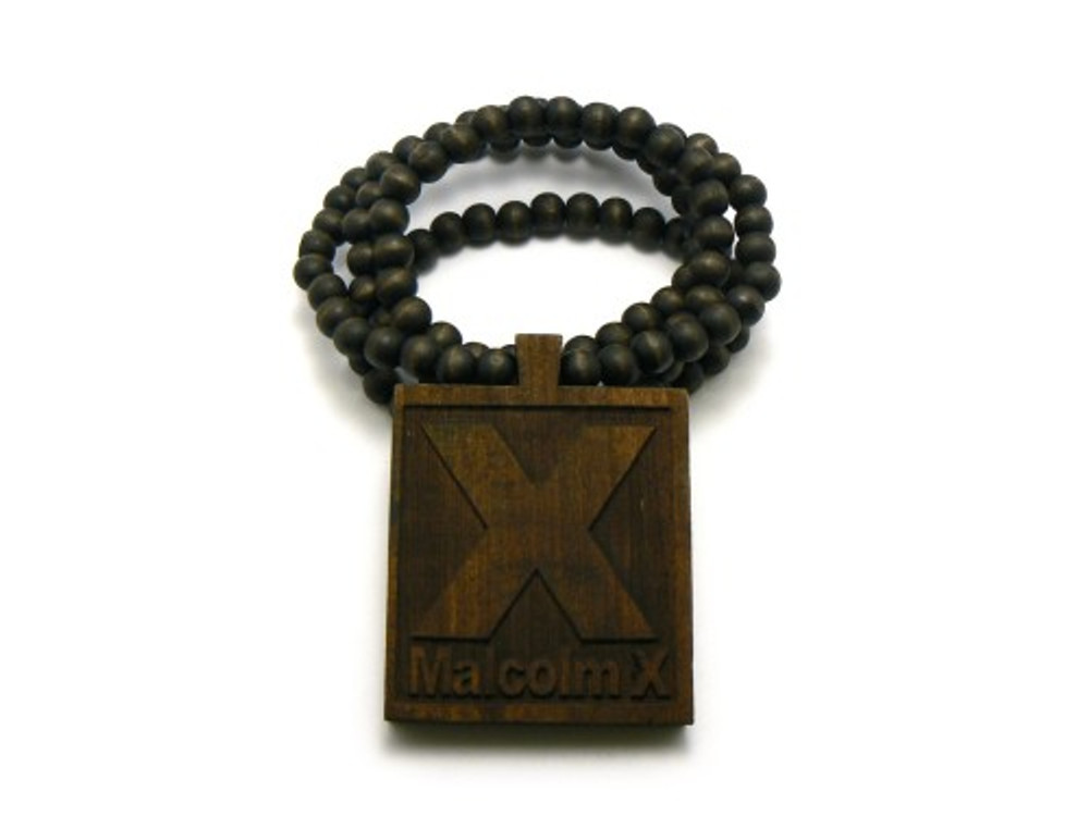 Malcolm X Hip Hop Pendant Chain Necklace Wood Brown