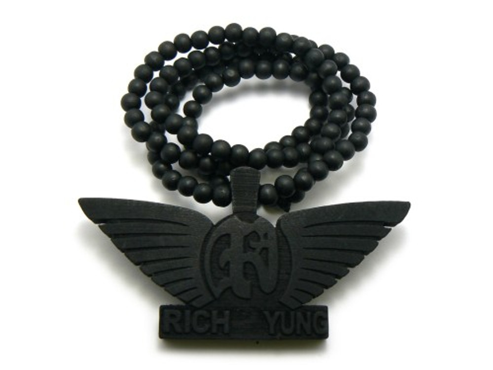 Rich Yung Wooden Hip Hop Pendant Beaded Chain Black
