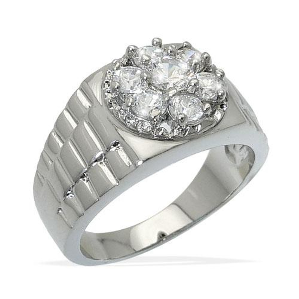 Mens Iced Out Cluster Diamond CZ Stone Ring Silver