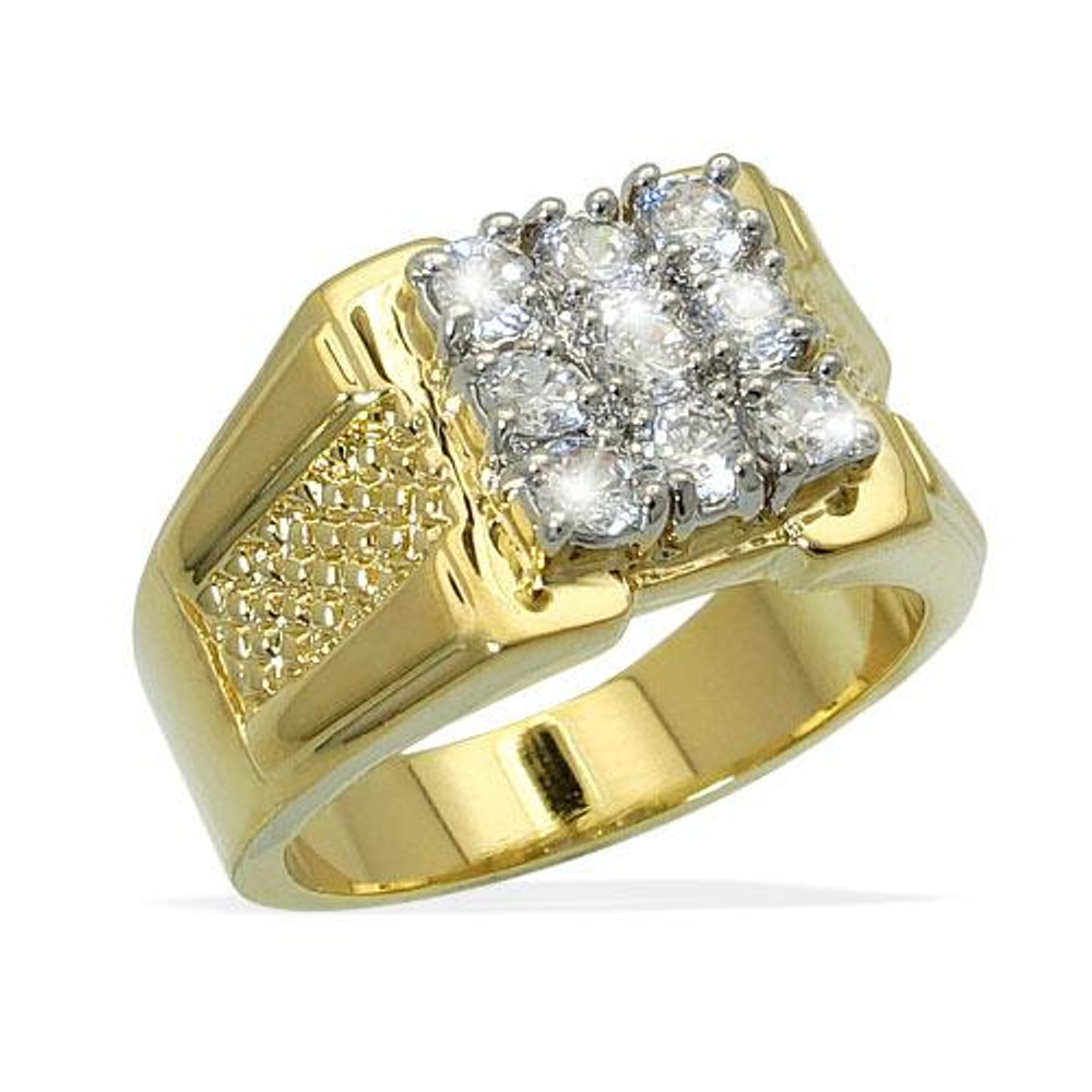 Men's 9 Cut Diamond CZ Bling Iced Out Ring Gold