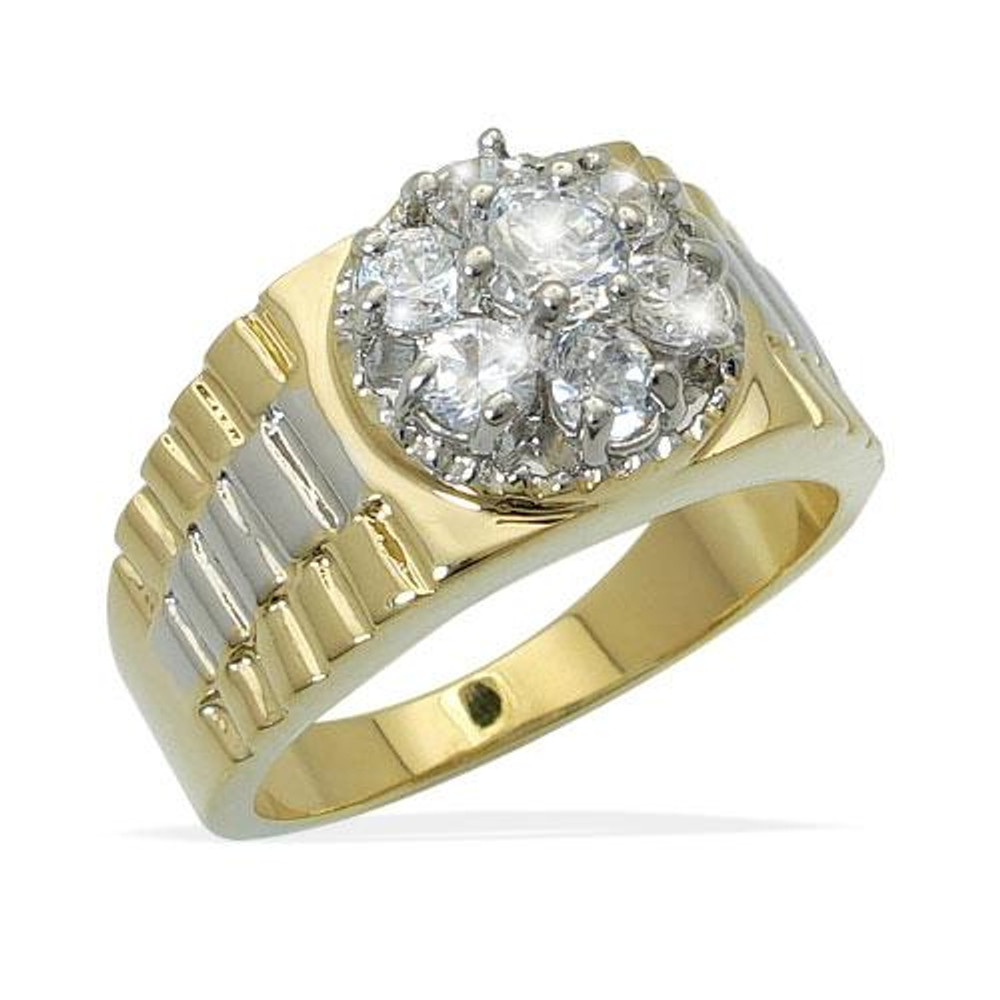 Mens Iced Out Cluster Diamond CZ Stone Ring Gold