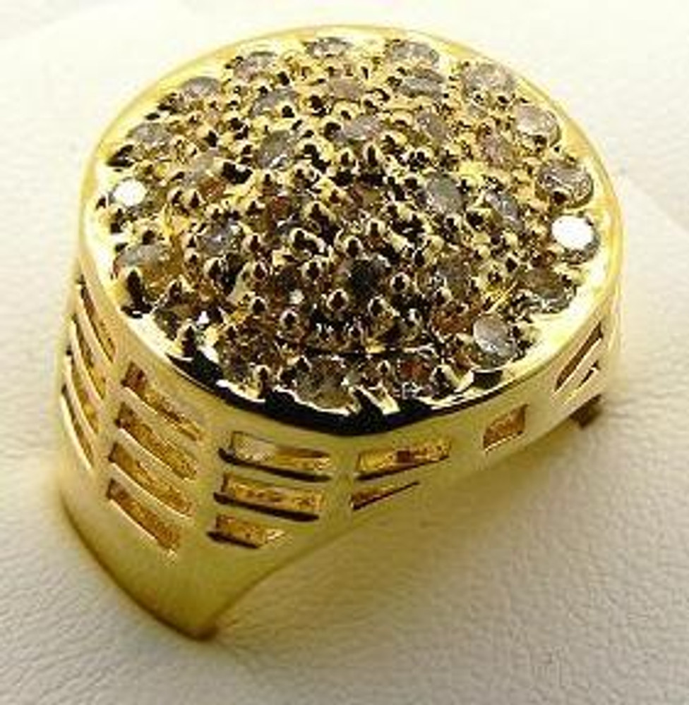 Men's Iced Out Championship Diamond Cz Bling Ring Gold