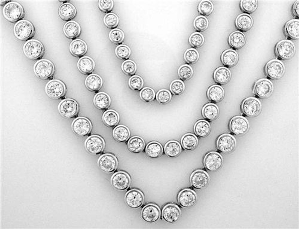Rhodium Ballers Iced Stone Chain 7mm 22 Inch
