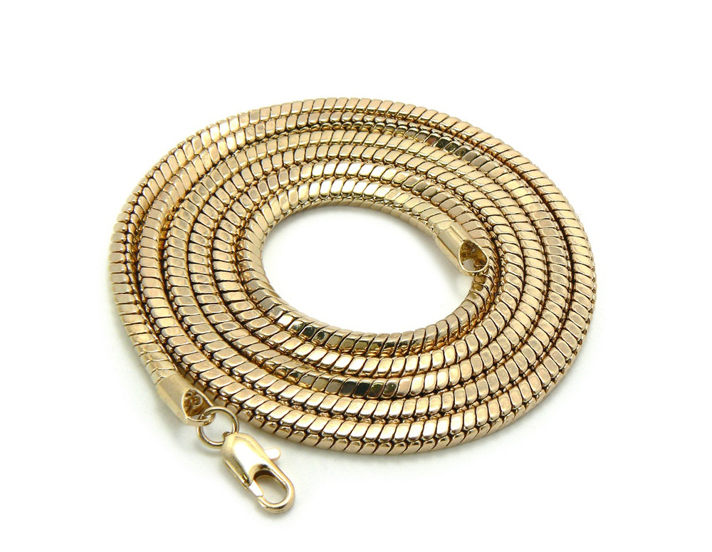 4mm 36 Inch Snake Link Hip Hop Chain Necklace Gold