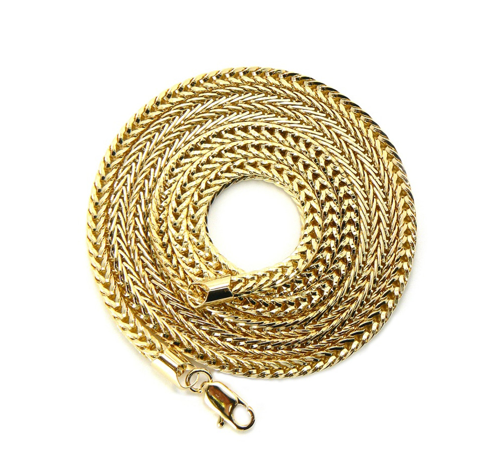 Mens Frosted Franco Link Hip Hop Chain Necklace Gold