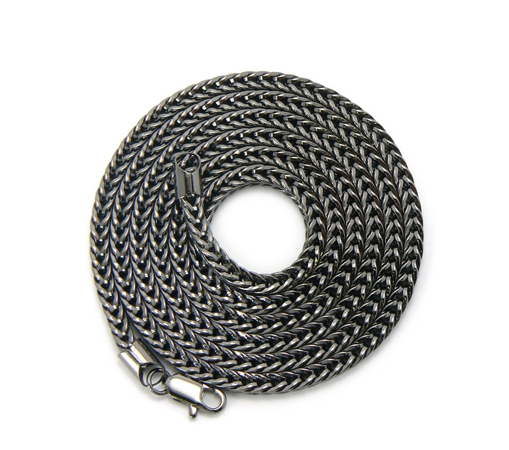 "Mens Gunmetal Franco Link 4mm 36"" Hip Hop Chain Necklace"