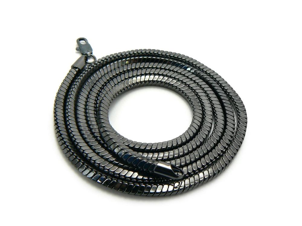4mm 36 Inch Snake Link Hip Hop Chain Necklace Black